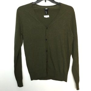 H & M Cardigan M Sweater Brown Fine Knit NWT